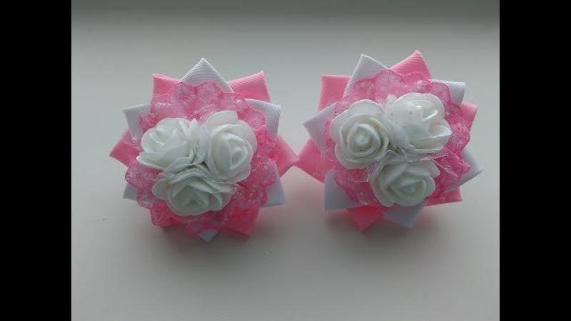 Нежные бантики с Розами Канзаши Мастер Класс / The delicate ribbon Rose Kanzashi MK