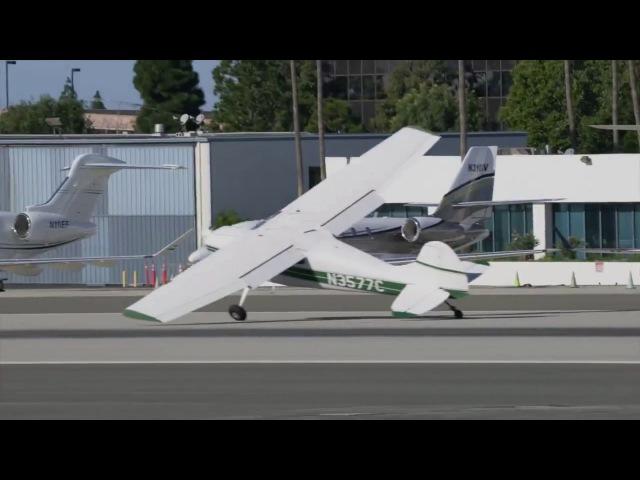 Santa Monica Airport cessna crosswind groundloop