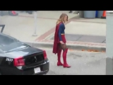 Melissa filming a fight scene