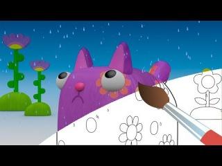 Раскраска - Деревяшки - Дождик - Учим цвета с малышами - Развивающие мультики для ...