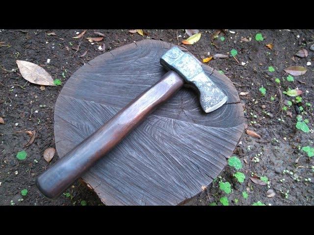 Forging an un-welded hatchet / hand axe - GS Tongs