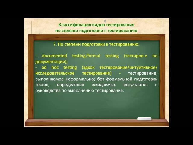 Видео 20. Тестирование по документации. Ad hoc тестирование