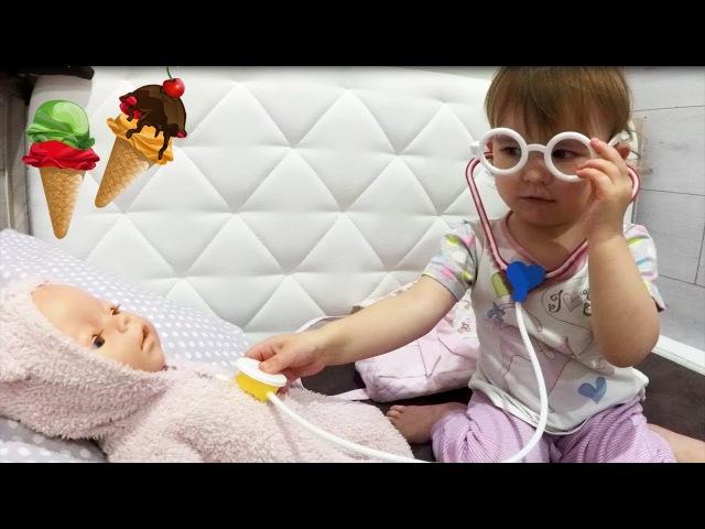 КАК МАМА - Вредная Кукла Беби Бон Съела Мороженное и Заболела - Эми Доктор