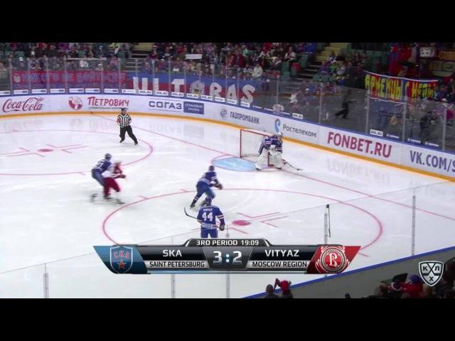 Моменты из матчей КХЛ сезона 16/17 • Гол. 3:3. Александр Денежкин (Витязь) оказался самым расторопным на пятаке 27.08