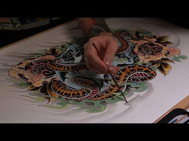 Рисуем эскиз для татуировки / Череп / Неотрад Тату / Японская татуировка