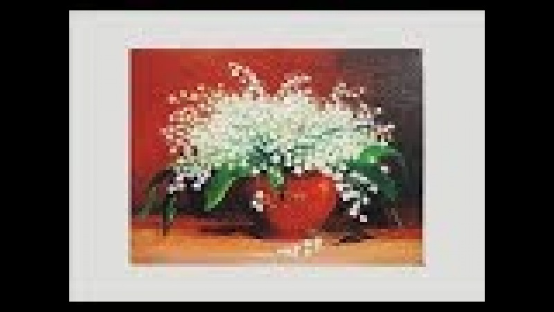 Картина маслом ландыши. lily of the valley. Picture. Painting