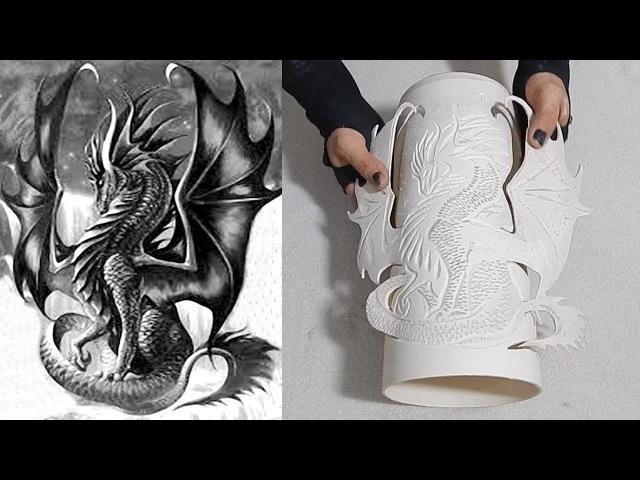 Aprenda fazer uma luminária de pvc formato Dragão