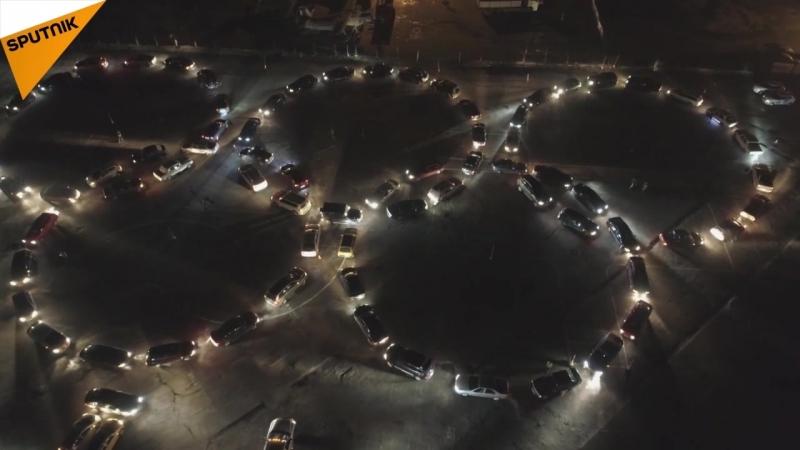 Kaliningrad'daki otomobilcilerden Rus sporculara destek amaçlı flashmob