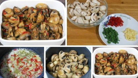 Тушеные грибы с чесноком и перцем чили