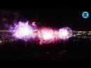 Видео с дрона в центре фейерверков. В эпицентре салютов