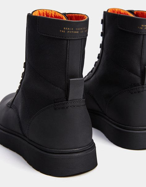Комбинированные мужские байкерские ботинки