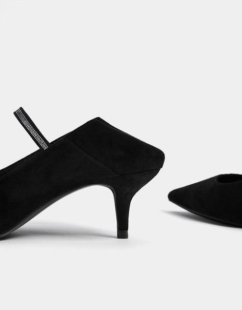 Туфли-мюли на среднем каблуке со съемным ремешком на щиколотке