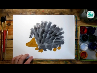 Как нарисовать ЁЖИКА красками. Уроки рисования для детей.