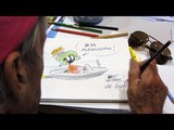 Lee Holley draws Marvin the Martian - 8272016 - Comic Con Palm Springs