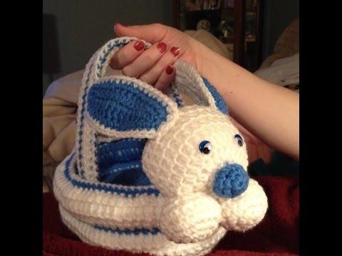 Canastas tejidas en Crochet Conejo de Pascua