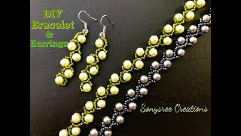 Pearl vine Bracelet Earrings Updated video for Easy Tutorial