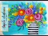 Impressionist Beginner Acrylic Painting Bohemian Flower Vase LIVE Tutorial #CACFlowerArt