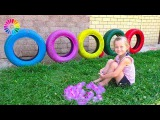 Learn Numbers and Colors with water balloons | Tires for Children | Play with Balloon Faces  IRL