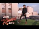 Tentativas do Neymar para um chute aterrorizante do telhado do Jimmy Kimmel