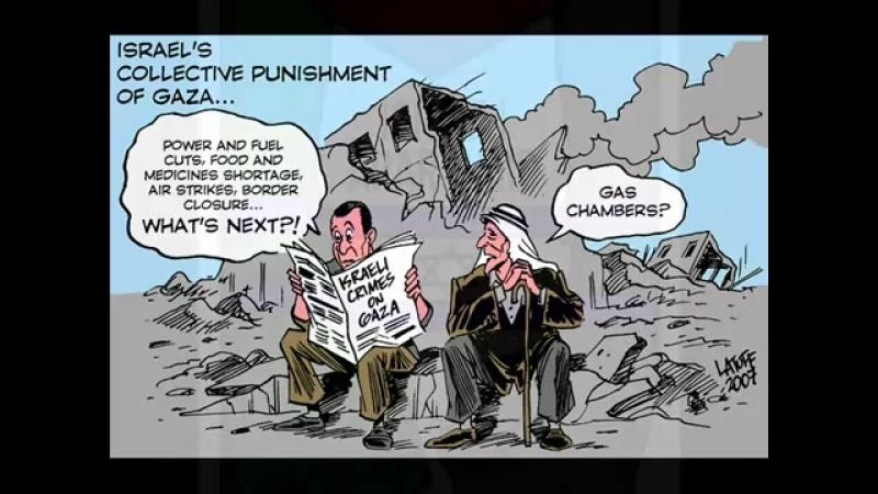 Voici un court clip de caricatures soulignant la souffrance et l'injustice infligées au peuple de Palestine. Les illustrations s