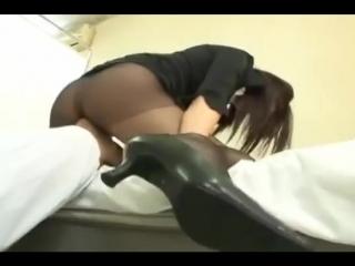 Japanese girl facesitt white panties and black pantyhose