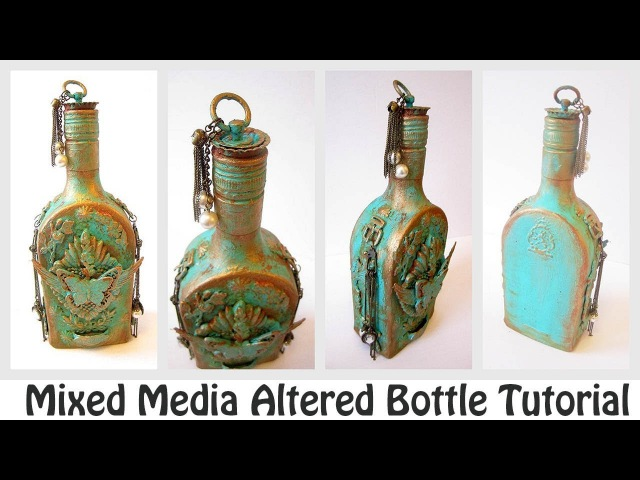 Mixed Media Altered Bottle Tutorial | How to Create Rust Effect? | Youtube Hop Giveaway