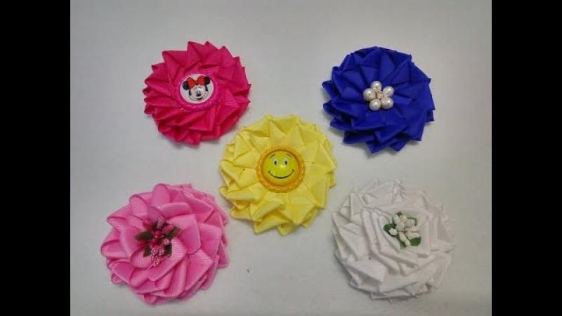 Цветок из лепестков Открытый конверт. Цветок из репсовой ленты 1,5 см. МК/DIY.