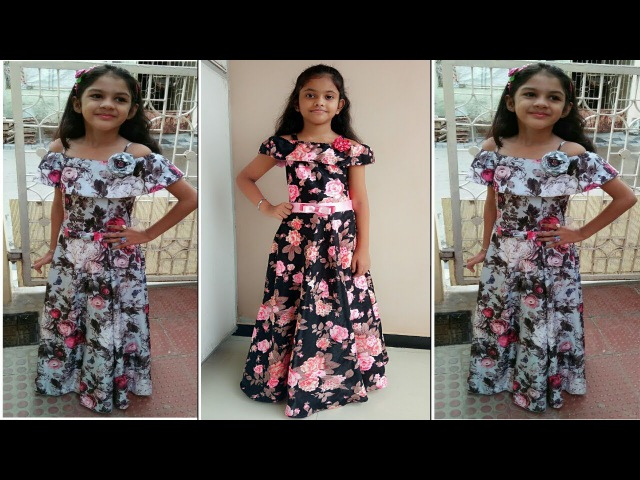 Floor length Off Shoulder Ruffled Party wear Gown (Full Tutorial)