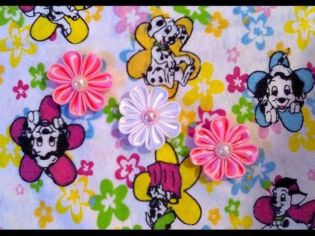 Маленькие цветочки Канзаши из атласных лент. Мастер-класс. / Flower Kanzashi Master Class hand made