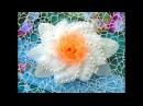 Цветок из органзы с бусинками, Часть 2, 🎀МК🎀Laço de fita/ Organza flower with beads, Part 2