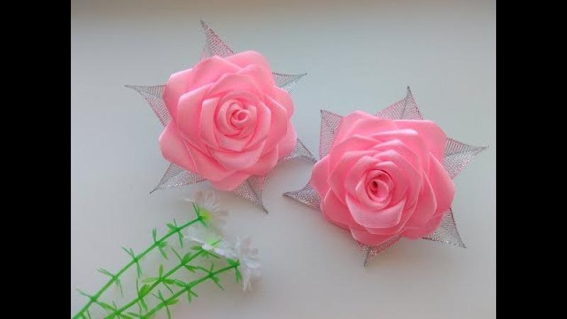 Бантики Розы из атласных лент МК Канзаши Bows Rose satin ribbons Kanzashi MK