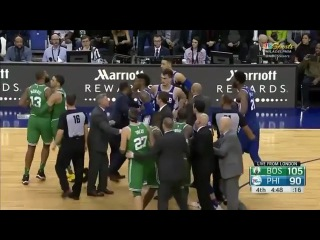Marcus Morris goes after Ben Simmons as things get chippy in London