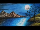 How to draw Moonlight scenery.Step by stepeasy draw