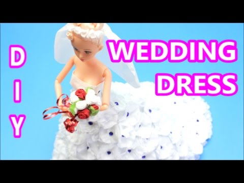 How to Make a White Wedding Dress from Tissue Paper   DIY Paper Doll Dress:  Doll Dress Fun