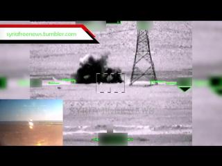 Работа российских вертолетов Ка-52 с применением ПТУР