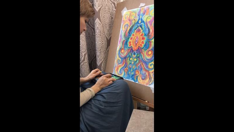 Рисую пастелью двумя руками