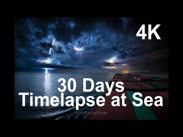 30 Days Timelapse at Sea | 4K | Through Thunderstorms, Torrential Rain Busy Traffic