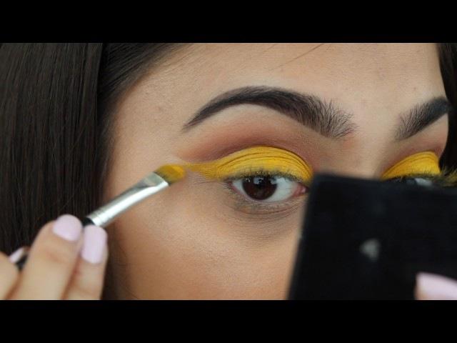 Tutorial - Yellow cut crease glitter liner