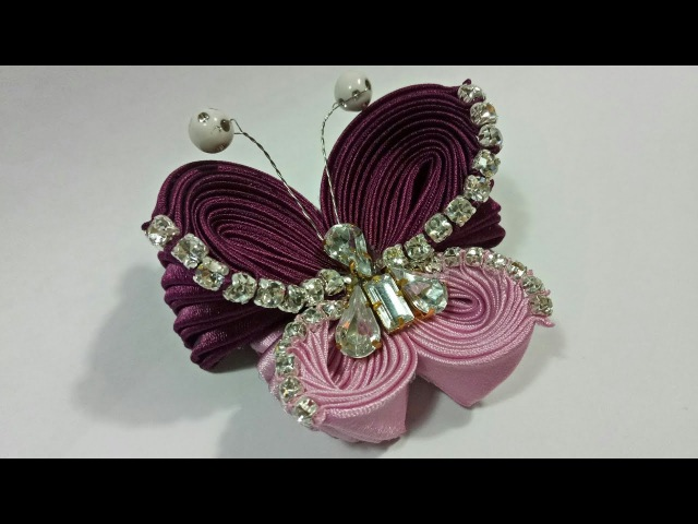 102 ) Tutorial kupu-kupu diamond modifikasi lipat ubur-ubur    Unique Ribbon Butterfly