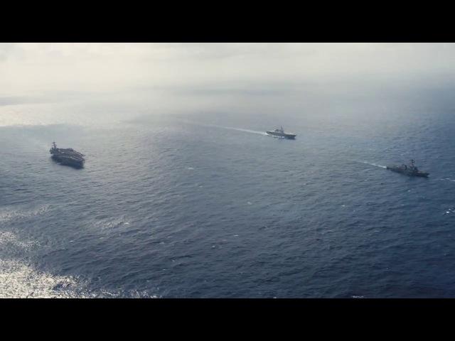 Корабли ВМС США USS Карл Винсон (CVN 70),USS Wayne E. Meyer (DDG 108) и японскийJS Ise (DDH 182) проводят учения в западной части Тихого океана