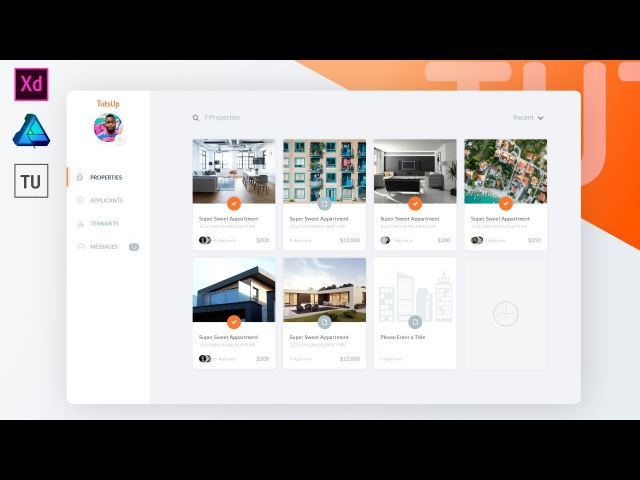 UI Web design - Propertie Website Dashboard using Adobe XD