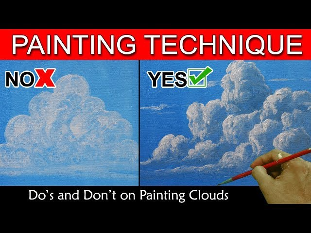 Do's and Don't on Painting Clouds in Basic Step by Step Acrylic Painting Tutorial by JM Lisondra