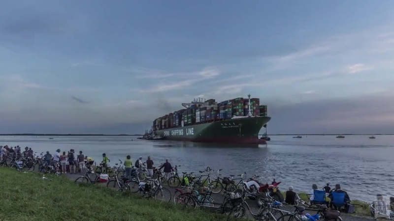 CSCL Jupiter was refloated with the assistance of 16 tug