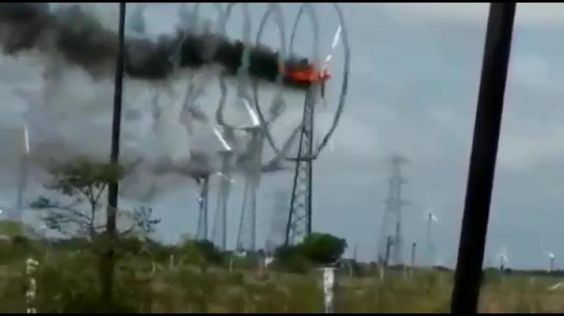 Пожар на ветрогенераторе