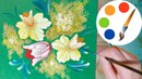 Painting by a round brush, How to paint narcissus, mimosa and tulip, painting for beginners