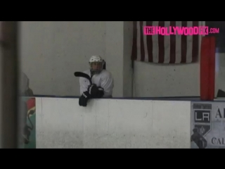 March 17: Justin playing hockey at the Los Angeles Kings Valley Ice Center in Panorama City, California.