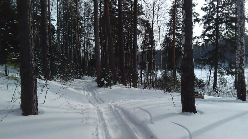 Спуск к оз. Конан - Ер (Зима, Россия, Марий Эл)