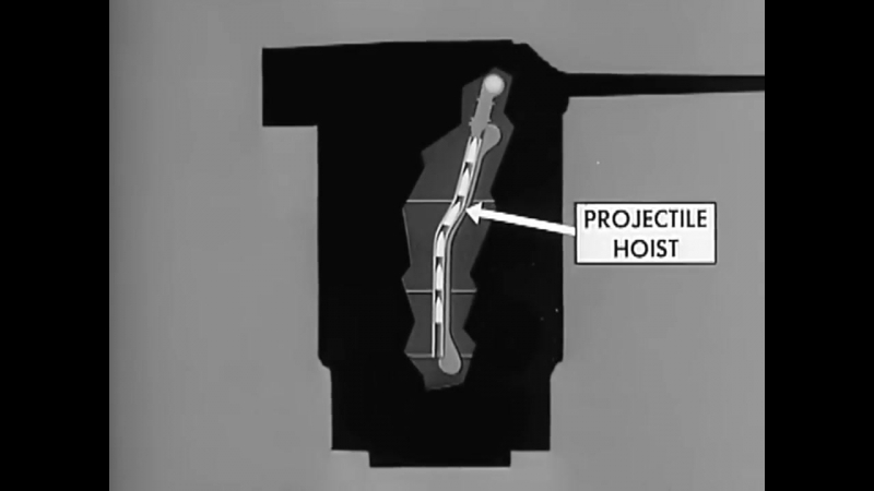 Устройство и работа башни главного калибра (США 1955 г.)