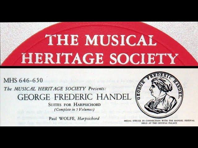 Handel / Paul Wolfe, 1962: Suite for Harpsichord No. 3 in D minor, HWV 428