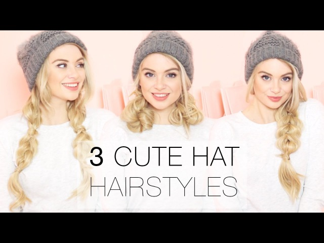 3 Cute Winter Hat Hairstyles using Hair Extensions l Milk Blush